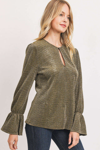 Lurex Long Sleeve Key Hole Blouse