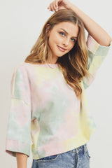 Tie Dyed 3/4 Sleeve Round Neck Top
