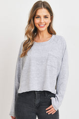 Raglan Long Sleeve  W Front Pocket Top