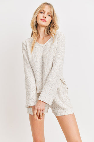 Textured  V-neck Long Sleeve Sweater
