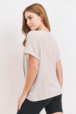 Short Sleeve Front Twist Waffle Top