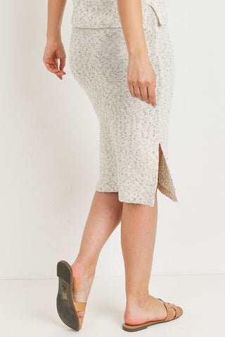 Waist Elastic With Side Slits Sweater Skirt
