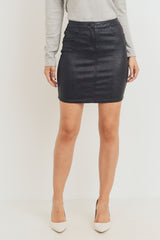 Sparkle Coated Skirt - Coat Black