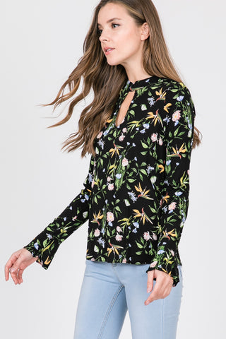 Floral Print Blouse With Bell Sleeves