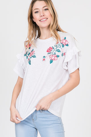 Ruffle Embroidered Crewneck Top