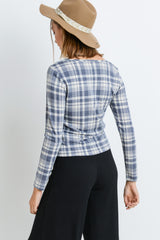 V-neck Button Down Plaid Long Sleeves Top
