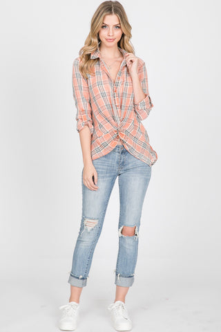 L/S Plaid Burnout w/ Front Knot