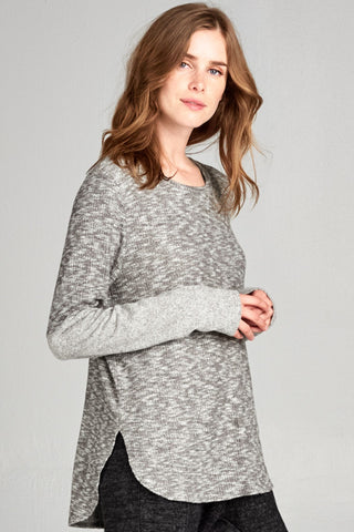 Heather Slub Crew Neck Top S-M-L-XL