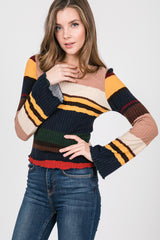 Multi Striped Rib Mock Bell Sleeves Top