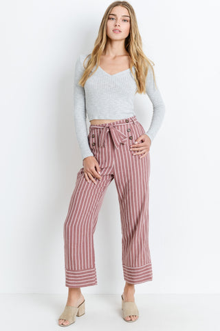 Double Button Down With  Waist Belt Pants