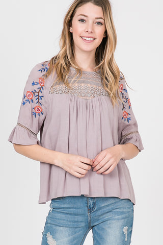Short Sleeve Rayon Ruffle Embroided Top