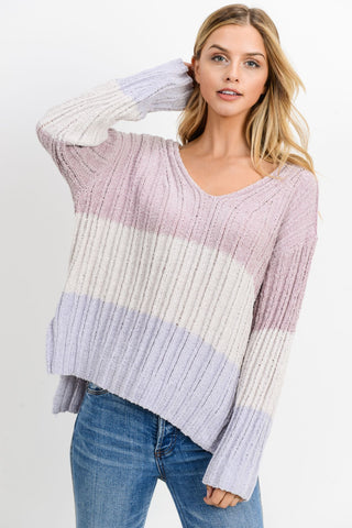 Knit Colorblock Long Sleeves Sweater