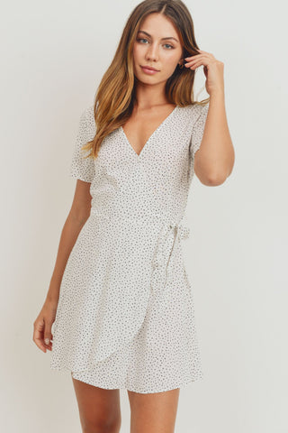 Wrap Surplice Polka Dots Short Sleeve Dress