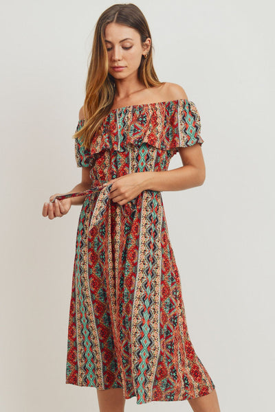 Off The Shoulder Printed Top Dress