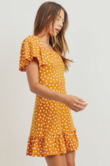Polka Dots Ruffled Square Collar Puff Short Sleeve