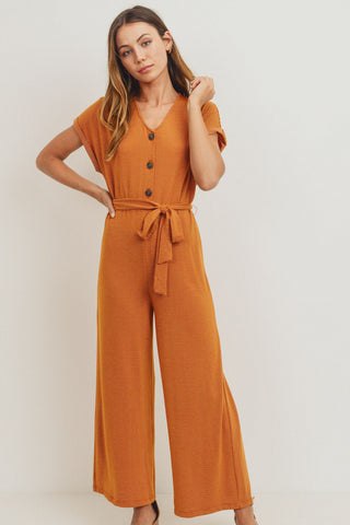 Striped Buttoned Waist Tie Short Sleeve -Jumpsuit