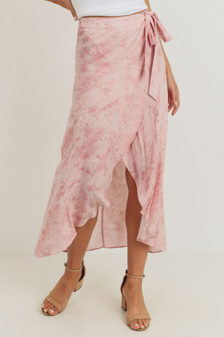 Wrap Asymmetrical Belted Ruffled Skirt
