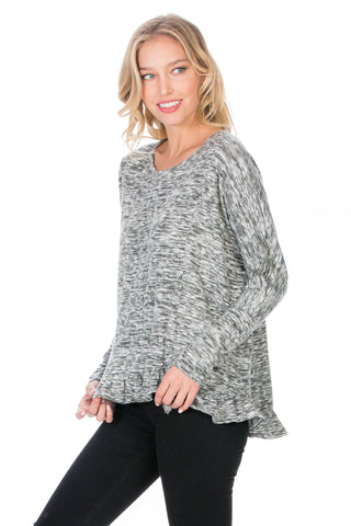 Long Sleeves Knit Top With Riffle Hem