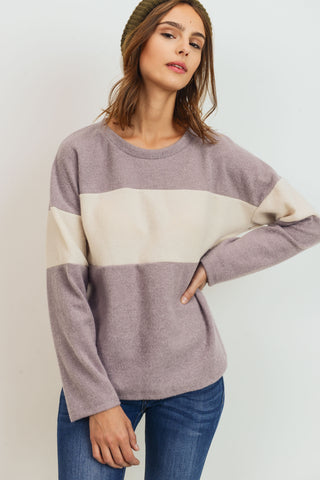 Brushed Contrasted Long Sleeves Top