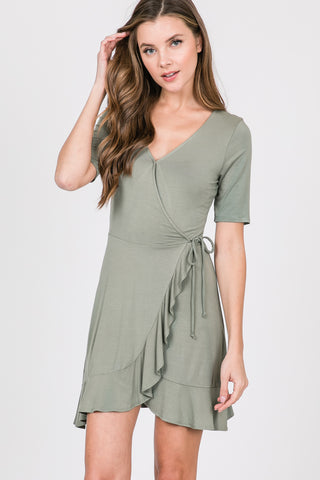 Short Sleeves Dress With Ruffle Detail