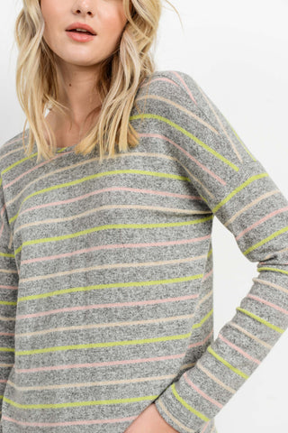 Brushed Stripedd Back Drawstring L/S Top