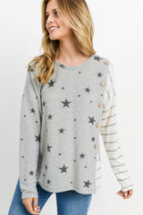 Star Printed Color Block With Button Long Sleeve