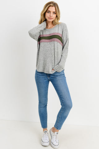 Brushed Bust Stripe Long Sleeves Top