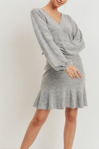 Brushed Hatchi Long Sleeves Dress