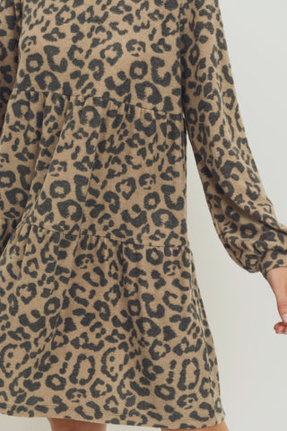 Blushed Animal Print Round Neck Long Sleeve Layered Dress