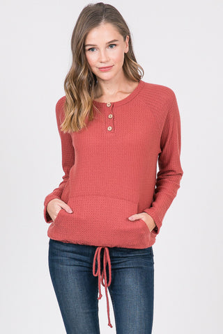 Brushed Waffle Raglan Sleeves top With Kangaroo Pocket