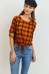 Plaid Woven Top Cropped With Waist Tie
