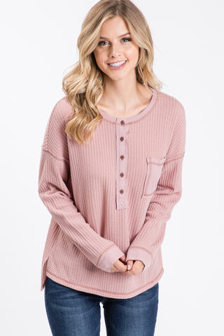 Waffle With Rib Contrast Button Front Top