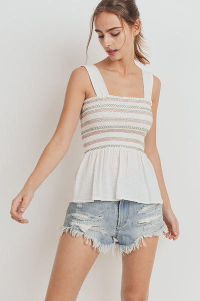 Smocking Shoulder Strap Hem Sleeveless Top