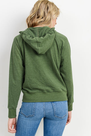 V Neck Long Sleeves Hoodie