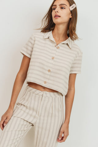 Striped Button Down Short Sleeve Top