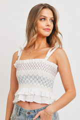 Rainbow Cross Smocking Shoulder Lace Top