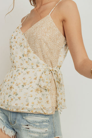 Double Print Peplum Tank Top