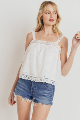 Eyelet Trim Shoulder Strap Crop Top