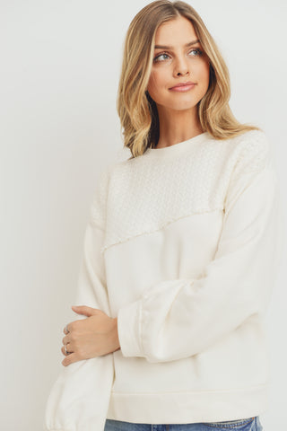 Long Sleeves Contrast Textured Top