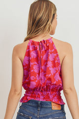 Vibrant Halter Funnel Neck Smocked Hem