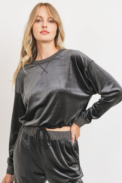 VELOUR TERRY CONTRASTED LONG SLEEVE TOP