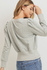 Long Sleeve Shoulder Pleat French Terry Pullover
