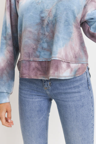 Baby Fleece Tie Dyed Round Neck Long Sleeve Top
