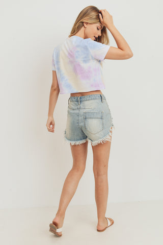 Tie Dyed Round Neck With Crop Top Short Sleeve Tee