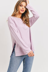 Ls Hi Lo Side Slit Super Soft Ft Pullover