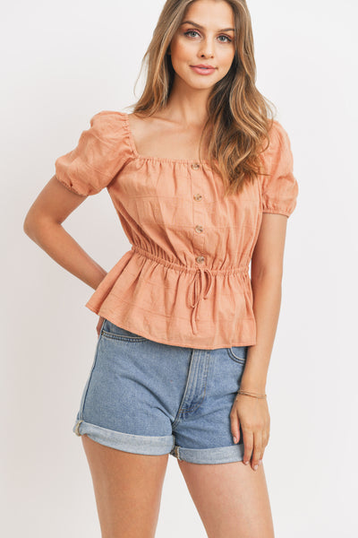 Texture Button Front Waist Elastic Short Sleeve Top