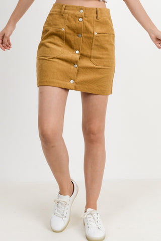 Corduroy Pocket Button Down Skirt
