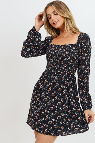 Floral Print Square Collar Smocking Dress