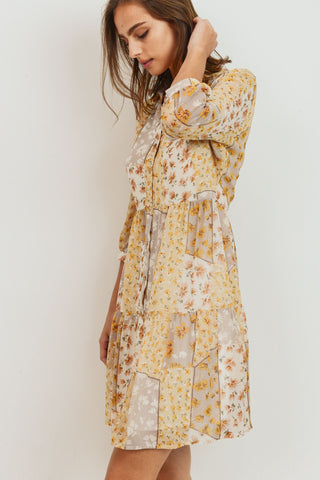 Floral Patch Print Cancan 3/4 Sleeve Dress