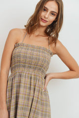 Plaid Smocking Sleeveless Dress